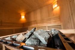 Hot stone on heater in Sauna spa room