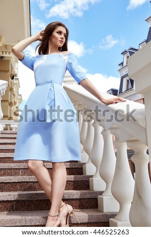 1934c64793a Hot summer girl beauty sexy lady wear blue fashion silk dress casual  clothes party date time