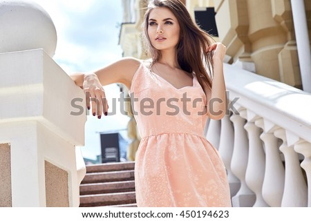 Hot summer girl beauty sexy lady wear fashion silk dress casual clothes party date romantic model woman luxury life style accessory catalog collection pretty face walk on stairs buildings in city