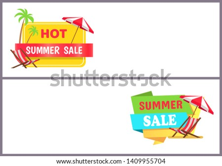 Hot summer sale internet banners templates set. big seasonal discount commercials. deal promotion with recliners and umbrellas raster illustrations