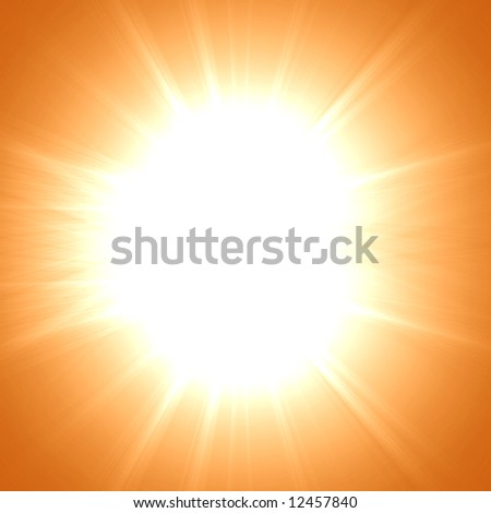 Hot summer sun on an orange background #12457840