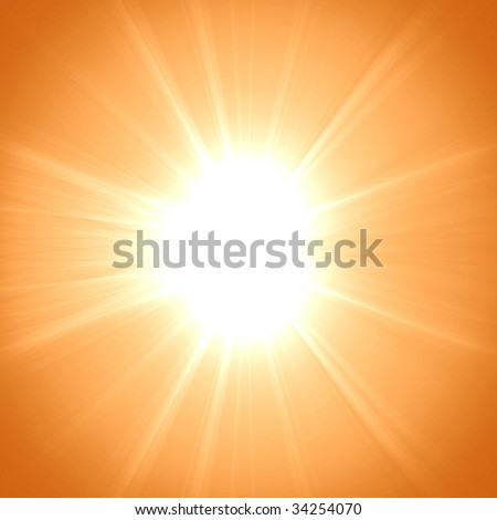 Hot summer sun on an orange background #34254070