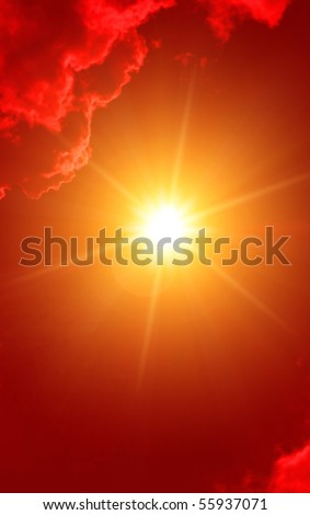 Hot sun in red sky