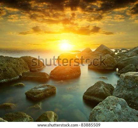 Hot sunset on sea