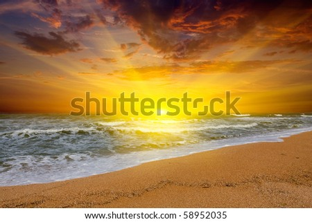 Hot sunset over sea
