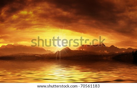Hot sunset over water surface - stock photo