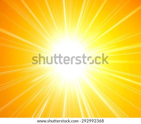 Stock Photo Hot sunshine. Rays of sunlight on yellow background