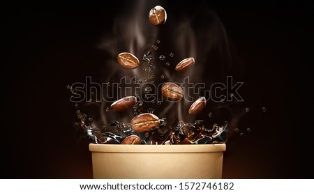 Hot takeway espresso morning coffee in cardboard paper cup. Coffee to go fragrant drink splashes with falling down coffee beans and steam on black background. Banner design. 3d rendered illustration.