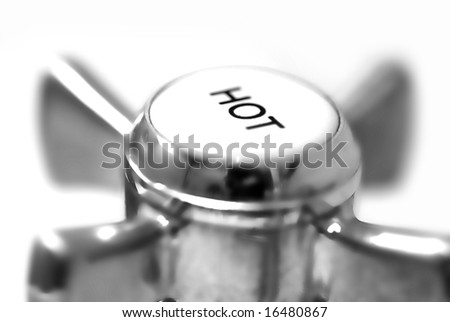 hot tap detail; isolated on white ground; differential focus