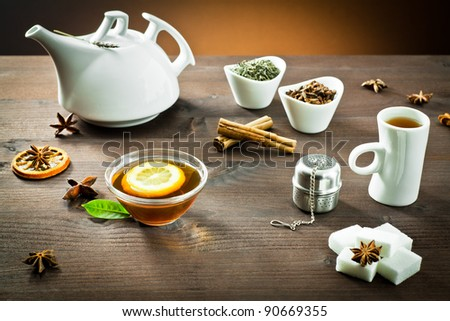 hot tea and spice aromatic for breakfast