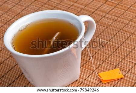 Hot tea in cup with bag on place mat and blank label