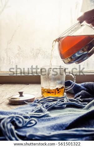 hot tea in the pot near the...