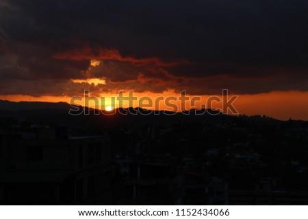 hot tropical sundown landscape, sundown - sunset - evening #1152434066