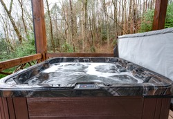 Hot tub at a cabin in the woods