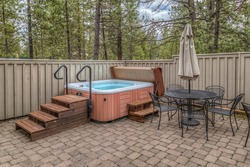 Hot tub on a paved patio