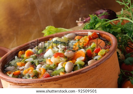 Hot vegetable soup and steaming, close-up #92509501