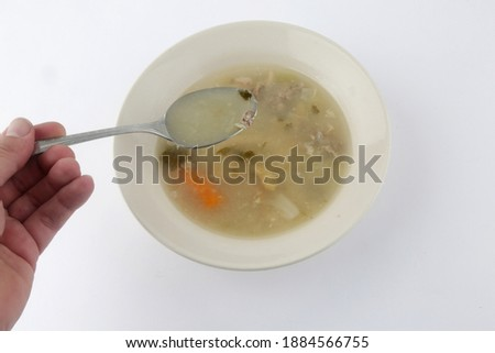 hot vegetables carrot and chicken soup as starter Сток-фото ©