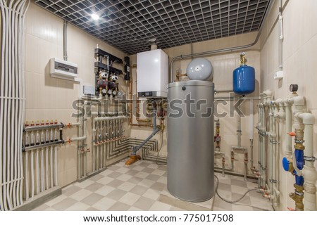 Hot water boiler. Boiler room with a heating system