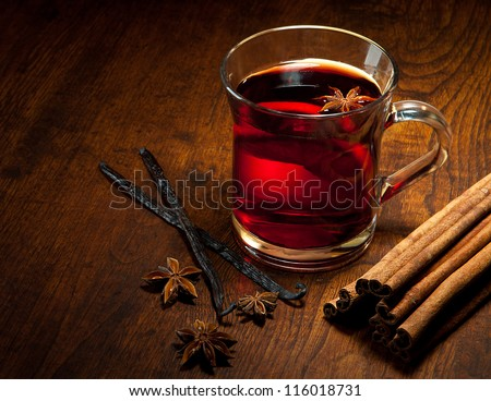 Hot wine for winter and Christmas with various spices