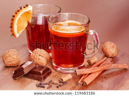 Hot wine in traditional Christmas arrangement