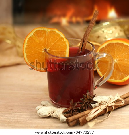 hot winter tea  and background with fireplace