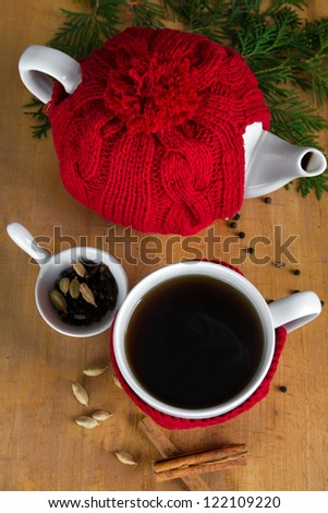 Hot winter tea with spices, top view
