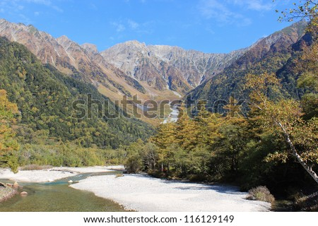 Hotaka Mountains and Azusa River from Kamikochi, Japan