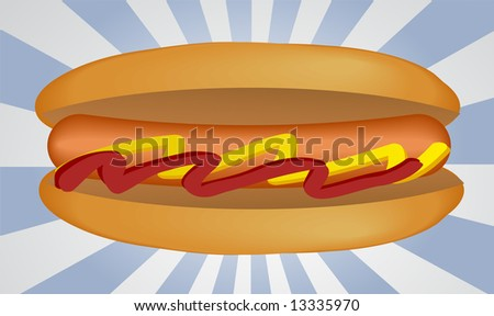 Hotdog illustration, sausage between buns with ketchup and mustard