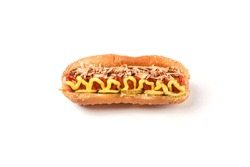 Hotdog with mustard on a white background