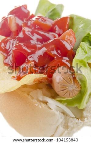 hotdog with organic salad and ketchup