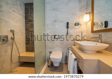 Hotel and lux villa type, bathroom with shower cabin stylish washbasin basin faucet, modern accessory design Stockfoto ©