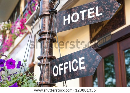 hotel and office signage