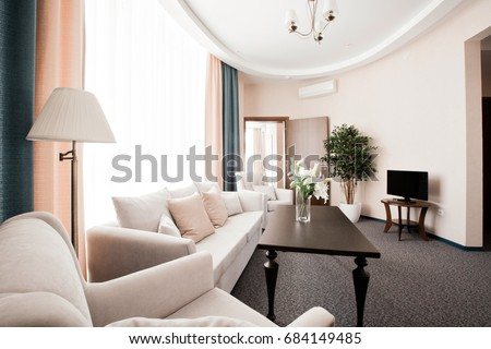 Hotel apartment, living room interior in the morning #684149485