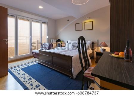 Hotel bedroom interior #608784737