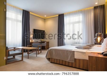 Hotel bedroom interior in the morning #796357888