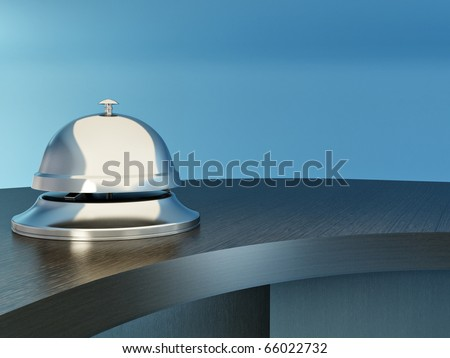 Hotel bell on the table. Reception. 3d - stock photo