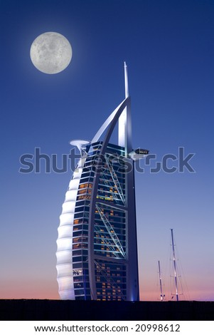 Hotel Burj al Arab, Dubai at full moon