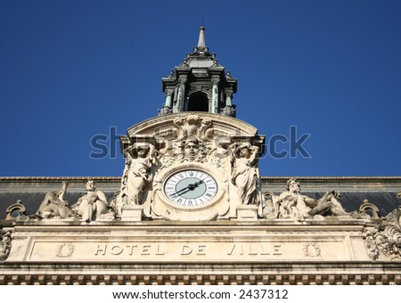 Hotel de Ville detail french town hall with clock