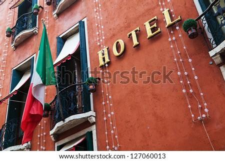 hotel facade in Venice, Italy