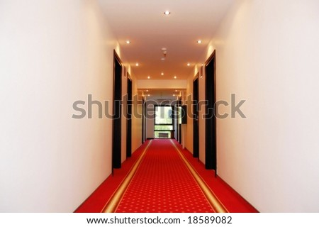 Hotel floor with red carpet