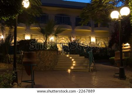 Hotel garden at night