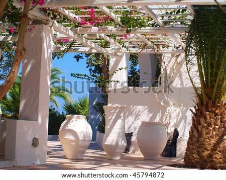 hotel garden, Greece