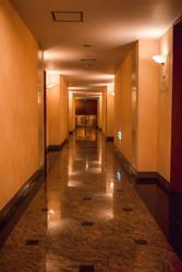 Hotel Hallway low light marble floor
