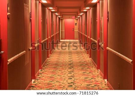 Hotel Door Hotel Hallway With Red Doors