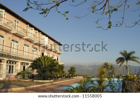 Hotel in Cuba. This hotel with swimming pool is situated in the Valle de Vinales. This is an UNESCO World Heritage site