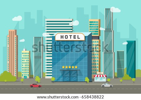 Hotel in the city view illustration, flat cartoon hotel building on street road and big skyscraper town landscape, font view cityscape panorama clipart image