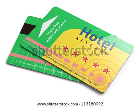Hotel keycards or cardkeys for electronic door lock opening isolated on white background