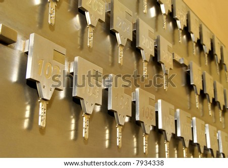 Hotel keys at reception