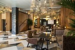 Hotel lobby and bar and hallway