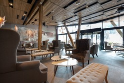 Hotel lobby restaurant interior
